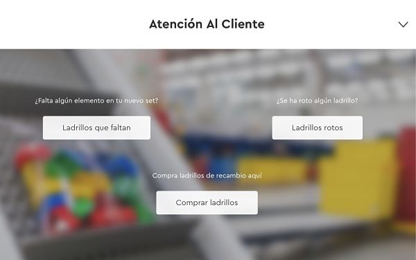 Ladrillos que faltan en atencion al cliente de LEGO